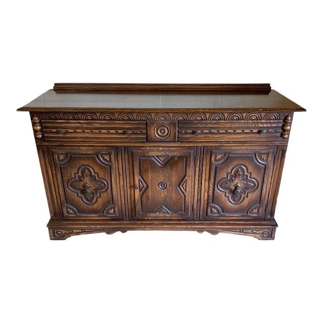 Vintage Dark Oak Carved Wood Server Hunt Board For Sale