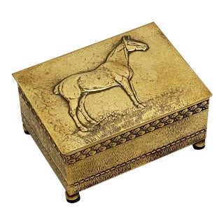 English Brass Clad Box With Embossed Relief of Horse For Sale