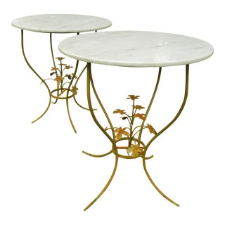 Vintage Mid-Century Iron and Marble Tables - Set of 2