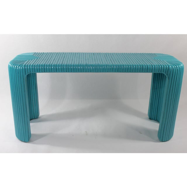 Bamboo Console Table With Aquamarine Lacquer - Image 2 of 5