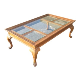 Vintage French Country Glass Top Wooden Coffee Table For Sale