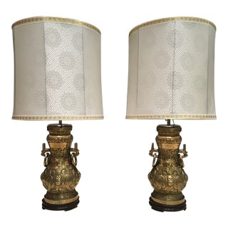 Pair of Japanese Mid-Century Modern Solid Brass Table Lamps Manner of James Mont W/ Silk Shades For Sale