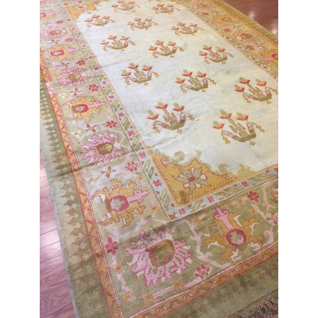 Antique Turkish Oushak Rug For Sale In New York - Image 6 of 7
