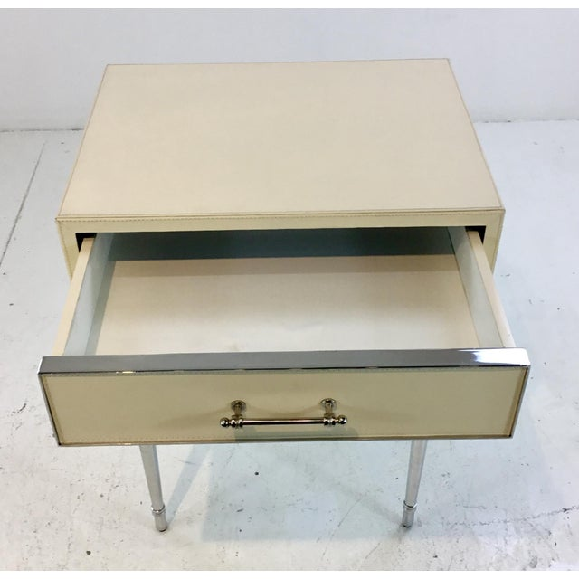 Modern Bungalow 5 Modern Ivory Leather Jolene One Drawers Side Table For Sale - Image 3 of 6