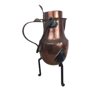 19th Century Copper Handmade Lidded Coffee Tea Pot For Sale