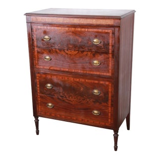 Early John Widdicomb Flame Mahogany Highboy Dresser, Circa 1920s For Sale