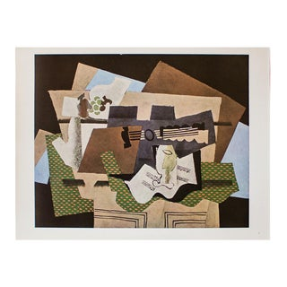 """1940s Georges Braque, """"Glass and Guitar"""" Original Period Swiss Lithograph For Sale"""