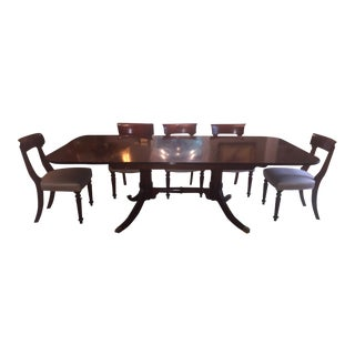 Ian Dickson Traditional English Dining Table and 8 Blade-Back Chairs