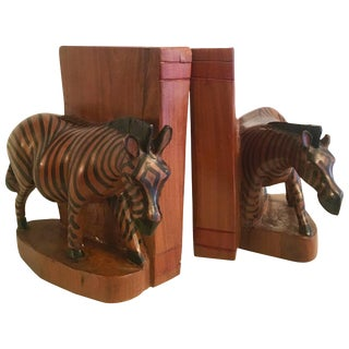Pair of Hand-Carved Zebra Bookends From Kenya For Sale