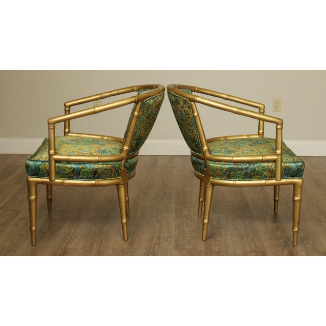 Hollywood Regency Hollywood Regency Faux Bamboo Mid Century Gilt Wood Barrel Back Armchairs - a Pair For Sale - Image 3 of 13