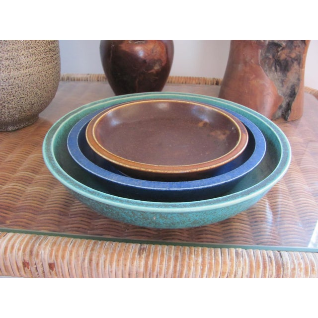 Rustic 20th Century Rustic Saxbo Eva Staehr Nielsen Ceramic Nesting Bowls - Set of 3 For Sale - Image 3 of 13