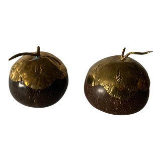 20th Century Wooden and Brass Acorns - a Pair For Sale