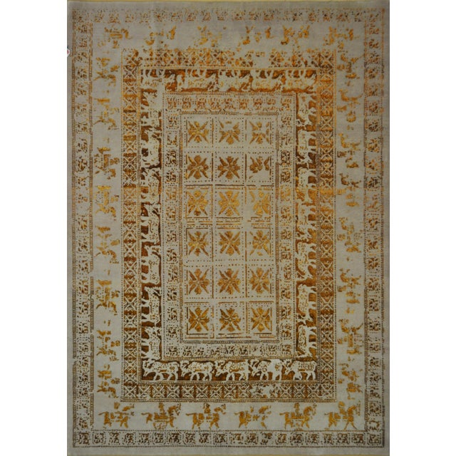 Beige and Gold Wool Hand Knotted Area Rug With Animal Motifs - 5'9 X 8' For Sale - Image 4 of 4