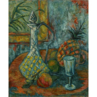 Laurent Marcel Salinas, Ananas, Carafe Et Fruits (302), Oil on Canvas For Sale