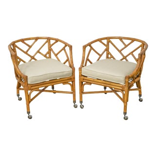 McGuire Style Rattan Bamboo Arm Chairs - A Pair
