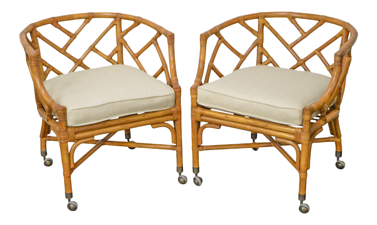 Ordinaire McGuire Style Rattan Bamboo Arm Chairs   A Pair