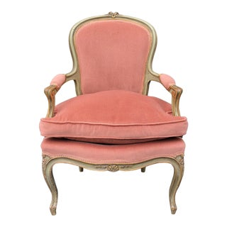 Antique Louis XV Paint Decorated Bergere Arm Chair