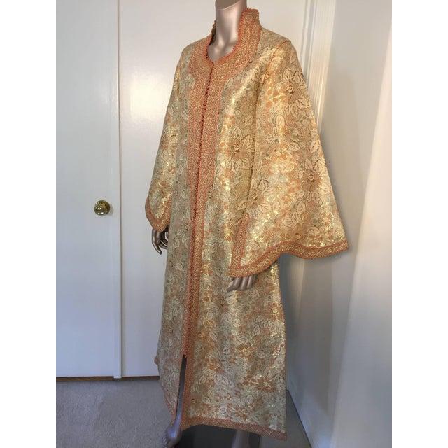 1970s Moroccan Caftan Gold Brocade Maxi Dress Kaftan For Sale - Image 10 of 10