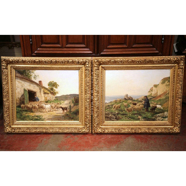 19th Century French Sheep Paintings in Gilt Frames Signed C. Quinton - a Pair For Sale - Image 11 of 11