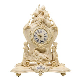 Early 19th C. Habsburg Empire Carved Ivory Mantel Clock