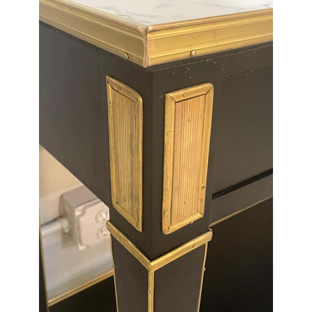 Wood Pair of Hollywood Regency Neoclassical Ebony Console Tables Manner Jansen For Sale - Image 7 of 13