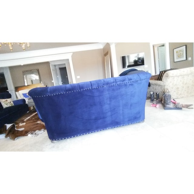 Restoration Hardware Churchill Blue Velvet Sofa - Image 5 of 6