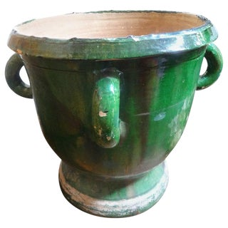 19th Century French Green Glazed Terra Cotta Planter From Anduze For Sale