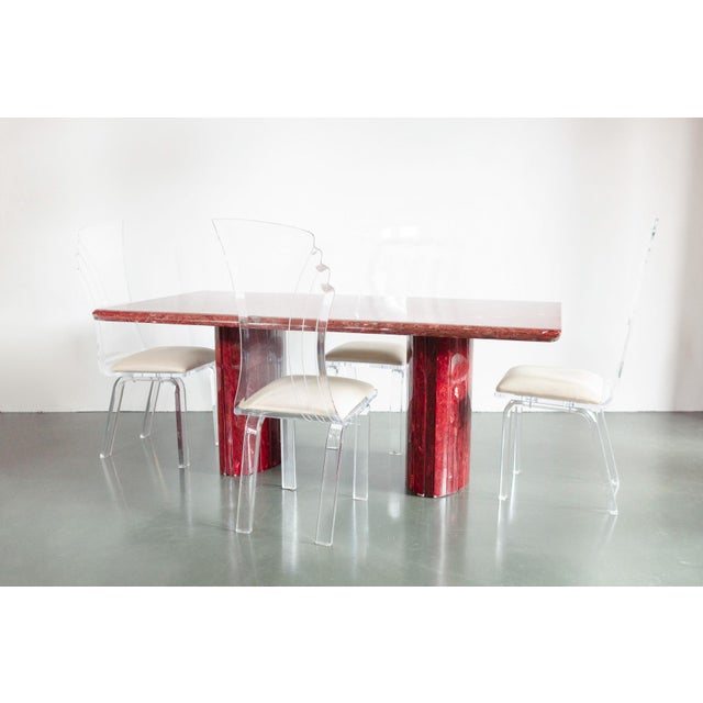 Contemporary Red Quartz Dining Table For Sale - Image 3 of 10