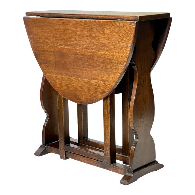 English Dropleaf Trestle Table For Sale