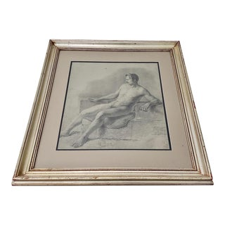 """19th Century German School """"Male Nude Study"""" Charcoal and Pencil Drawing C. 1830s For Sale"""