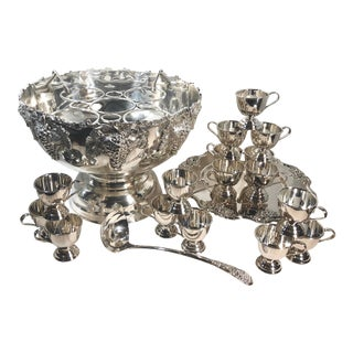 Large Silver Plated Punch Bowl Wine Chiller / Cups / Tray - 20 Piece Set For Sale