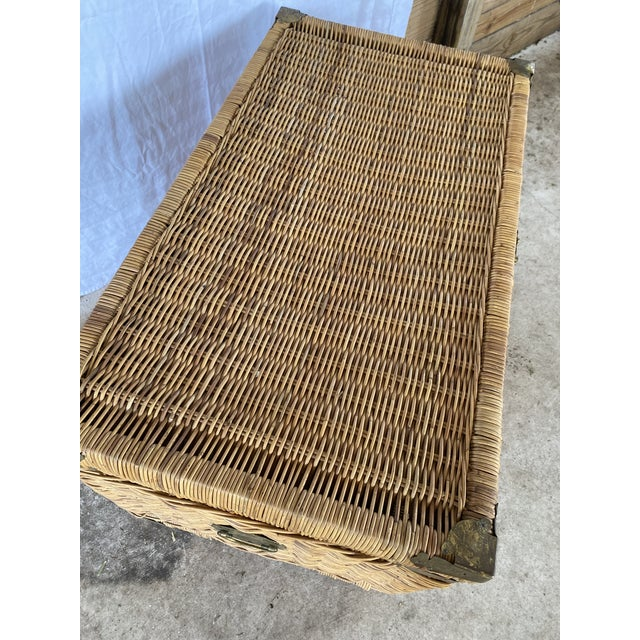 1970s Vintage Coastal Wicker Braid Drop Down Front Trunk For Sale - Image 5 of 13