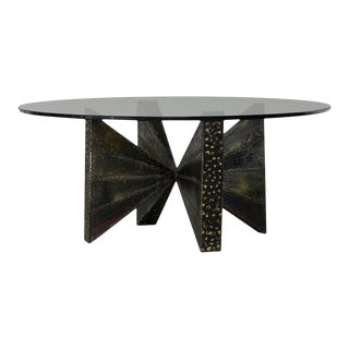 Sculpted Steel Coffee Table Paul Evans For Sale