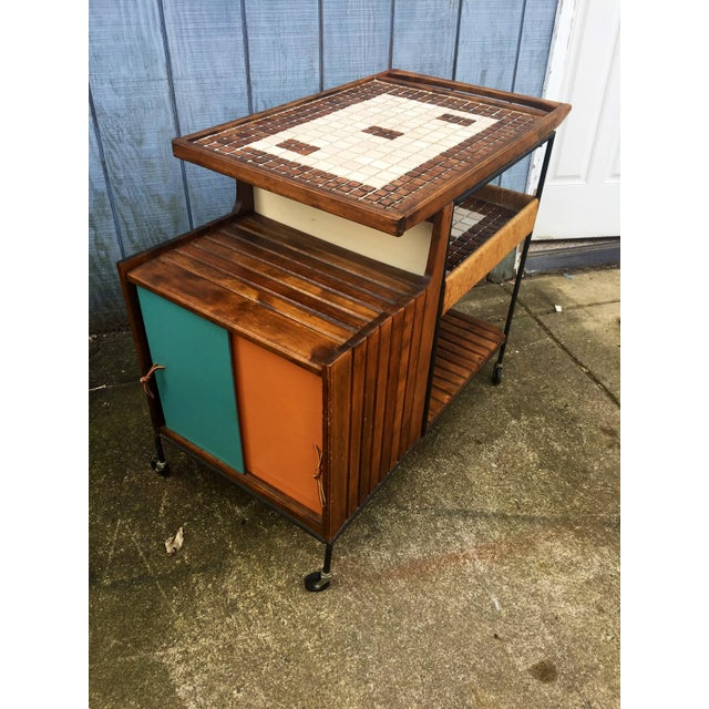 Brown Arthur Umanoff Mid-Century Bar Cart For Sale - Image 8 of 11