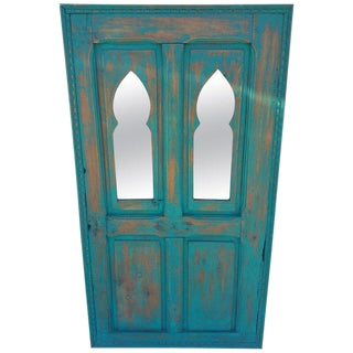 Moroccan White Wash Repurposed Double Opening Wooden Frame For Sale