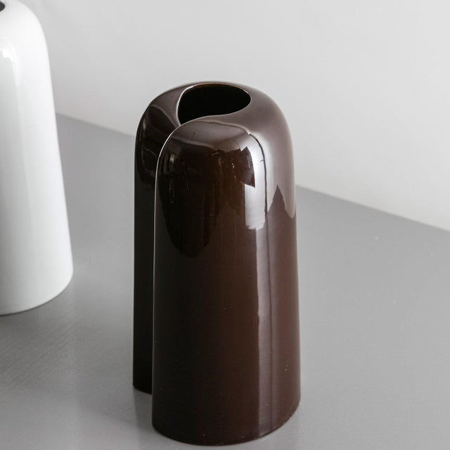 Remarkable set of three ceramic vases designed by Ambrogio Pozzi for Ceramiche Franco Pozzi. Flat rectangular shapes...