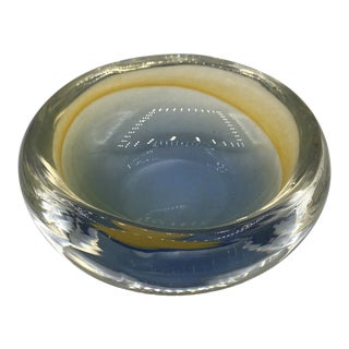 Murano Glass Bowl With Yellow and Blue Tint For Sale