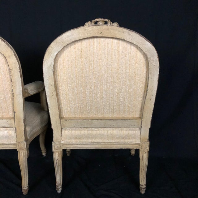 Louis XIV Neoclassical Style Cream Painted French Bergere Armchairs -A Pair For Sale - Image 12 of 13