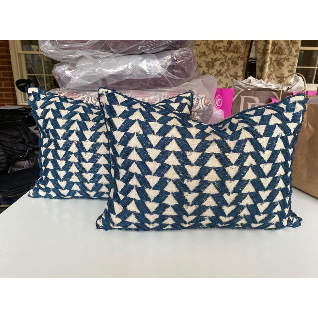 Textile Navy and White Woven Pillows - a Pair For Sale - Image 7 of 7