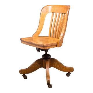 Antique Tiger Oak Swivel Desk Chair C.1900-1920 For Sale