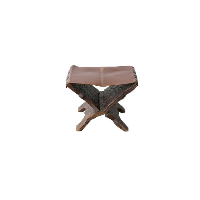 Vintage Carved Wood and Leather Ottoman For Sale In Nashville - Image 6 of 6
