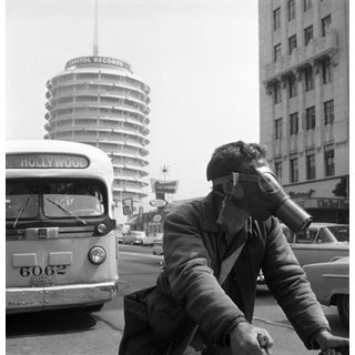 1957 Hollywood Messenger Making His Rounds in Vintage Downtown Los Angeles by Sid Avery (12x12 Canvas) For Sale
