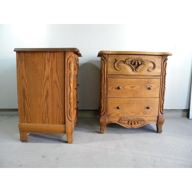 Carved Oak Nightstands - A Pair - Image 6 of 7