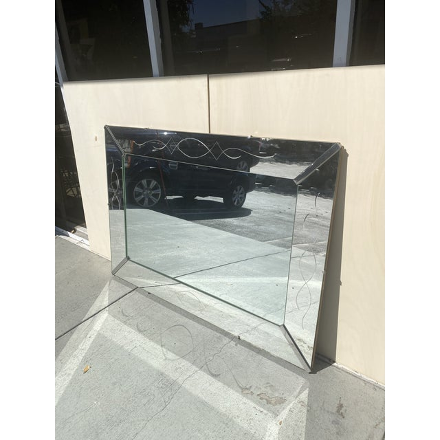 Art Deco Vintage Wall Mirror With Carving Design. For Sale - Image 3 of 9