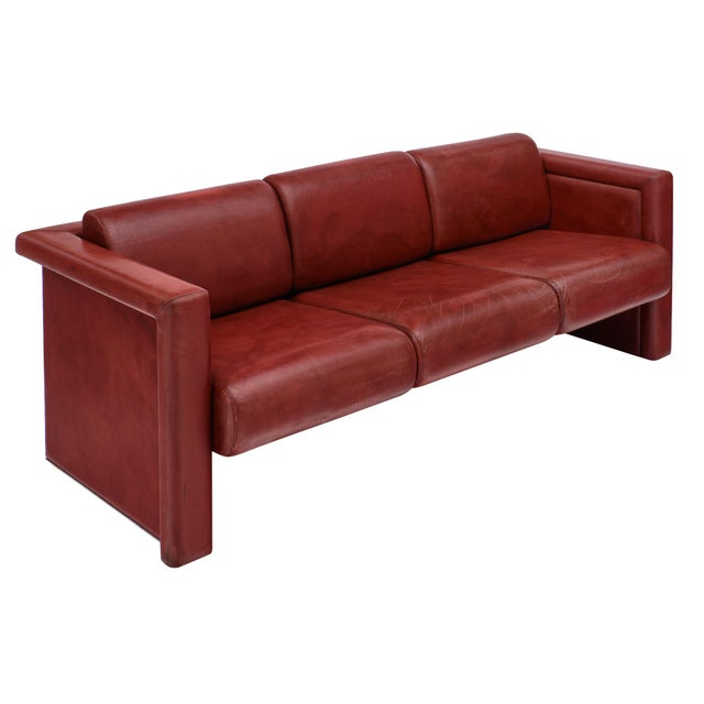 Knoll Red Leather Sofa