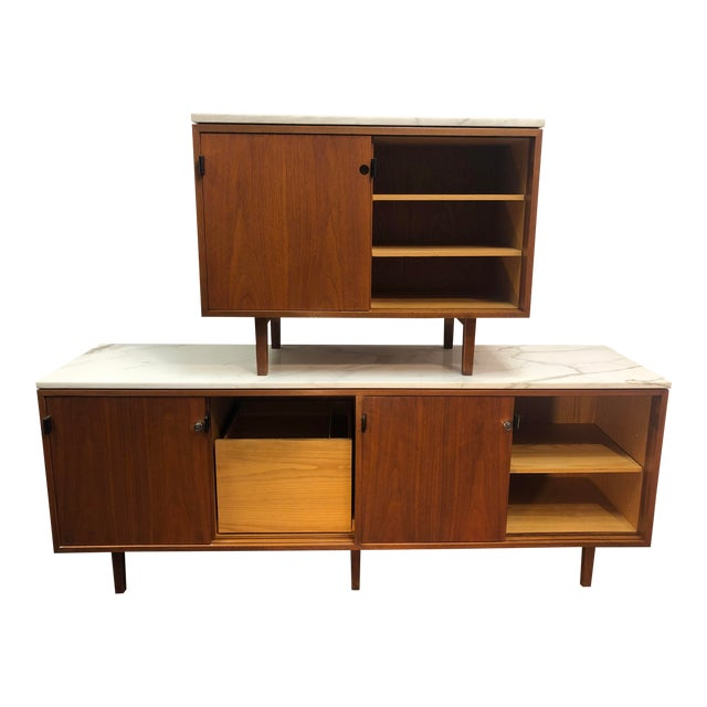 1960s Mid-Century Modern Florence Knoll Calcutta Marble Top Walnut Credenza Set- 2 Pieces For Sale