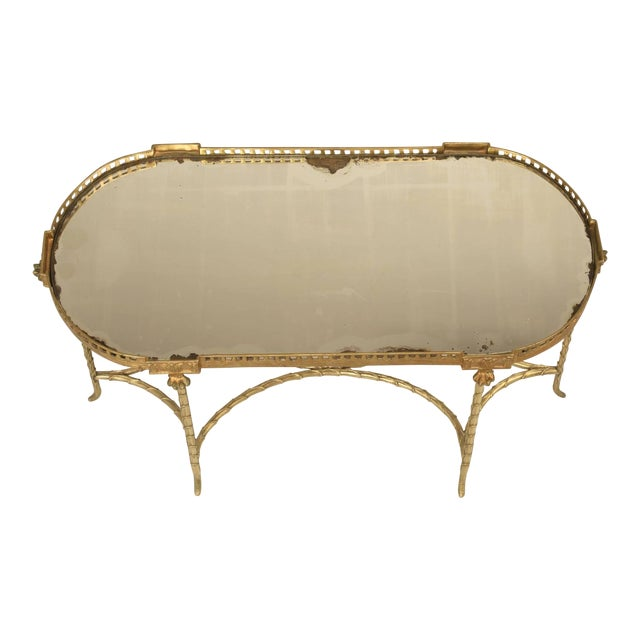 French Bronze Bamboo Style Coffee Table Attributed to Bagues For Sale
