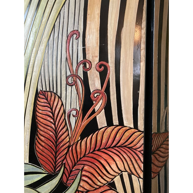A very beautiful unique piece. Incredibly vibrant and fun. The motif is tropical palms with 5 golden monkeys all hand...