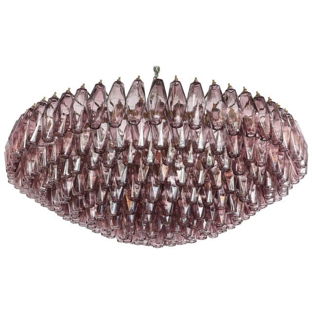 Metal 1970s Round Chandelier With Amethyst Polyhedron Glass For Sale - Image 7 of 7