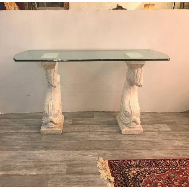Hollywood Regency 20th Century Hollywood Regency Cultured Stone and Glass Dolphin Motif Console Table For Sale - Image 3 of 10